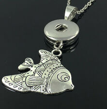DIY Clownfish Alloy Pendant With Charm Necklace Fit 18mm Snap Chunk Button C3
