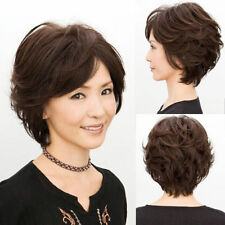 100% Real Hair! New Elegant Old Women's Lady Short Brown Wavy Full Wig