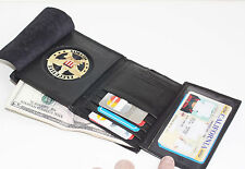 Badge Holder Wallet  Leather Black Police Fire Sheriff Security ID ROUND NR
