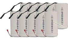 10x Sub C SubC Avec Tab 6000mAh 1.2V Ni-MH Batteri Rechargeable Blanc High Power