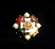 Vintage MIRACLE Gold Tone Maltese Cross Pin Brooch Multi-Color Glass Cabs