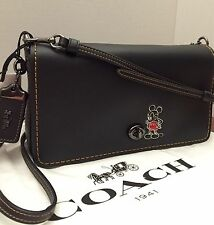 NWT COACH X DISNEY MICKEY MOUSE CROSSBODY Bag Glovetanned BLACK LEATHER DINKY
