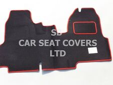 TO FIT A FORD TRANSIT VAN MAT, FLAT BED, BLACK CARPET + RED PIPING