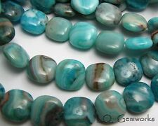 """16"""" Str BLUE CRAZY LACE AGATE 8mm Square Beads"""