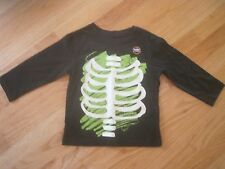 Toddler Boy HALLOWEEN GLOW IN THE DARK SKELETON RIBCAGE BLACK TOP SHIRT NWT 3T