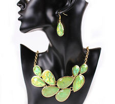 Hot Antique Gold Green Turquoise Bead Statement Bib Collar Necklace Earrings Set