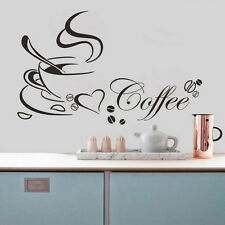 Art DIY Coffee Cup Heart Cafe Home Kitchen Window Decor Removable Wall Sticker