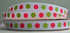 """10mm (3/8"""") WHITE w/ RED & GREEN DOTS grosgrain ribbon 3mtrs for crafts"""