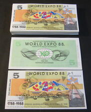 Lot of 100 pieces - Australian 1988 World Expo - $5 Notes - Bicentenary