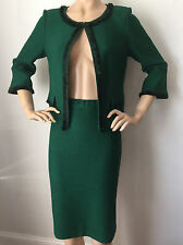 NEW ST JOHN KNIT 12 SKIRT SUIT TOURMALINE GREEN TWEED WOOL RAYON