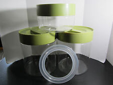 3 Corning Ware Pyrex Stack N See Glass Canister Jars Avocado Green GOOD SEALS