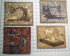 FOUR Vintage Sewing Machine Fabric Homemade Iron On Applique Block SEE PICTURES
