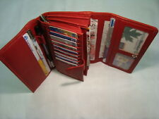 Leather Purse Wallet Organiser Extra Large Red Many features Top Brand