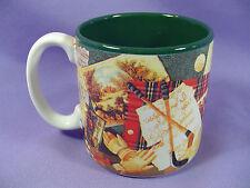 Porcelain Golf Coffee Cup Mug Bag Balls Shoes Clubs Green White Plaid #603200