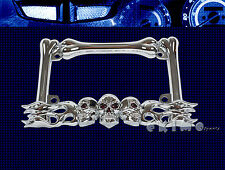 3D SKULL FLAME BONES CHROME METAL MOTORCYCLE LICENSE PLATE FRAME VICTORY TRIUMPH