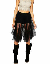 $128 Free People Champagne Lacey Lace Culotte Skirt Shorts Pants 0 Black