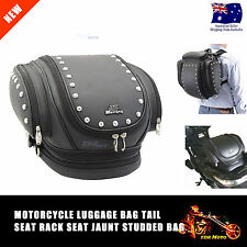 Motorbike motorcycle Leather Sissy Bar Bag Bags Bikers Harley Style Saddlebags