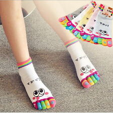 Lady Woman Girl Smile Five Fingers Trainer Toe Ankle Sport Socks Colors Hot LS30