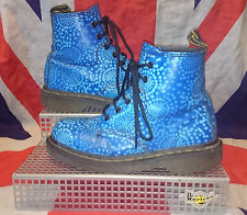 England Vintage*Blue Spotty Polkadot Dr Doc Martens*Quirky*Kitsch*Kawaii*6 Eye*4