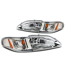 Ford Mustang Headlights Head Lamp assembly 1PC Chrome Housing 1994 95 96 97 98