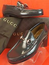 NIB GUCCI PIOMBO GRAY SHADE LUX  LEATHER SILVER HORSEBIT LOAFERS 7.5 8.5 #387598