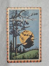 True Vintage Embossed Halloween Greetings Postcard Series Whitney Witch In Moon