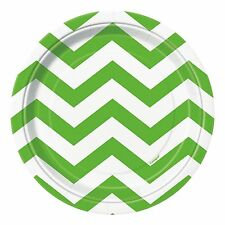 "8 Lime Green White Chevron ZigZag Birthday Party Small 7"" Paper Plates"
