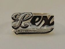 NAME RING PERSONALIZED STERLING SILVER ANY NAME *FIRST LETTER & TAIL BIT WORK*