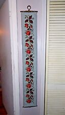 VINTAGE WOOL TAPESTRY BELL PULL WALL HANGING RED FLORAL ROSES DESIGN BRASS