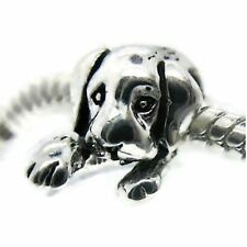 925 Silver Dog Puppy Animal Charms Bead For Charm Bracelets Screw Stopper