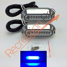 "2 NEW 3.5"" BLUE w/ 316SS COVER 24 LED UNDERWATER PONTOON BOAT TRANSOM LIGHTS"