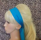 PLAIN TURQUOISE BLUE COTTON FABRIC HEAD SCARF HAIR BAND SELF TIE BOW 50s 60s