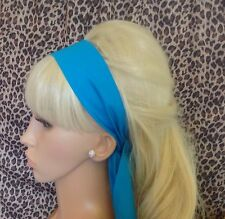 NEW PLAIN TURQUOISE BLUE COTTON FABRIC HEAD SCARF HAIR BAND SELF TIE BOW 50s 60s