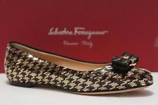 SALVATORE FERRAGAMO VARINA BLACK GOLD SEQUIN FLAT SHOES 6 $795