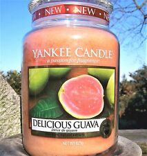 "Yankee Candle ""DELICIOUS GUAVA""  22 oz.~ EUROPEAN RELEASE ~ TAN LABEL ~ NEW!"