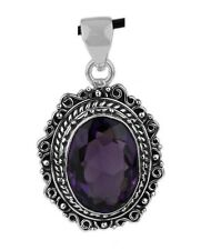 VINTAGE STYLE PURPLE AMETHYST STONE 925 STERLING SILVER PENDANT Length 1 5/8""