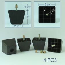 """4 pcs black plastic square leg furniture cabinet stand couch feet PVC 3"""" height"""