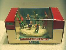 1997 Lemax Village Vail Collection Skiing Party Holiday Family Snow Poly-Resin
