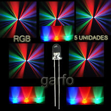 5X Diodo LED RGB 4,8X5 mm. Cambio  automatico de color 2 Pin alta luminosidad