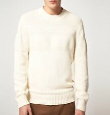 Ben Sherman Plectrum Starch Cream Cotton Knit Jumper Sweater Size M New RRP £90