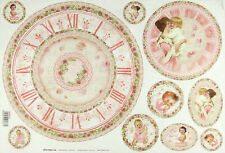 Ricepaper/Decoupage paper,Scrapbooking Sheets Baby Pink with Clock