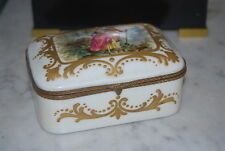 WONDERFUL OLD FRENCH ROMANTIC SEVRES STYLE PORCELAIN BOX FOR B ALTMAN  NEW YORK