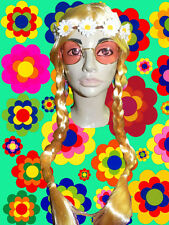 A209✪ 70er Jahre Hippie Flower Power Langhaar Perücke Blumenkinder Zöpfe blond