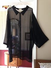 Vintage Roaman's Women's Blouse Sheer Black 3/4 Sleeve Button Front Top Size 4X