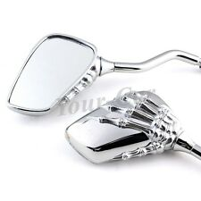 Universal Motorcycle Chrome Skull Hand Rear Mirrors For Honda Kawasaki 8MM-10MM