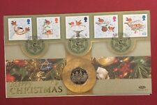 2001 Isle of Man Christmas 50p Pence Robin On A Postbox Coin Cover RARE