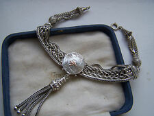 GORGEOUS ANTIQUE SOLID STERLING SILVER & GOLD ALBERTINA TASSEL BRACELET 8 1/2""
