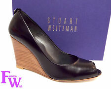 New STUART WEITZMAN ELLIE Size 9 Black Leather Open Toe Wedge Heels Shoes