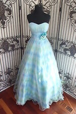 1126) CLARISSE 17176 GREEN BLUE SZ 4 $378 FORMAL GOWN DRESS