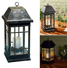 Outdoor Solar Lantern Hanging Light Led Pillar Candle Yard Patio Garden Lamp